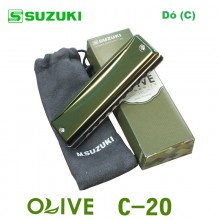 Gaita Blues Diatônica Olive Suzuki C-20 Dó (C)