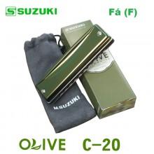 Gaita Blues Diatônica Olive Suzuki C-20 Fá (F)