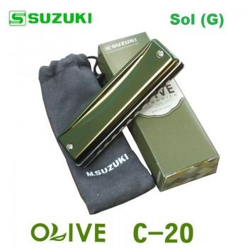 Gaita Blues Diatônica Olive Suzuki C-20 Sol (G)