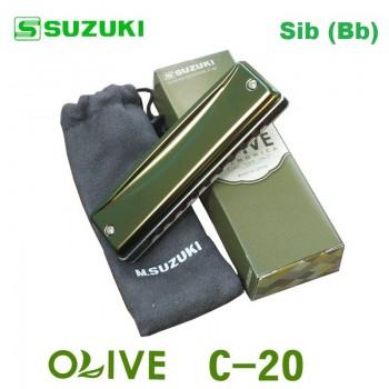 Gaita Blues Diatônica Olive Suzuki C-20 Sib (Bb)